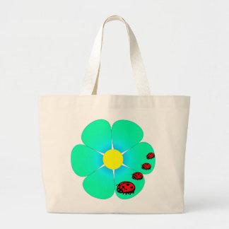 Blumen- und Marienkäfer-Taschentasche Leinentaschen
