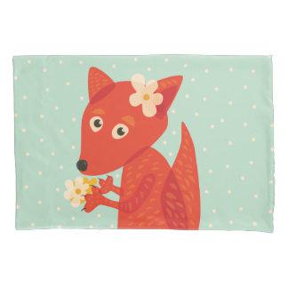 Blumen und niedlicher Fox Kissenbezug