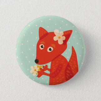 Blumen und niedlicher Fox Runder Button 5,1 Cm