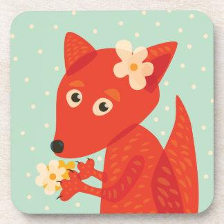 Blumen und niedlicher Fox Untersetzer