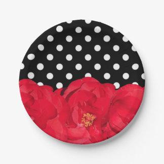 Blumen und Polka-Punkt-Party-Teller Pappteller