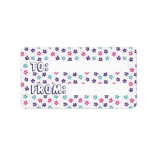 Blumen und Punkt-Muster u. von zum Aufkleber Adressaufkleber