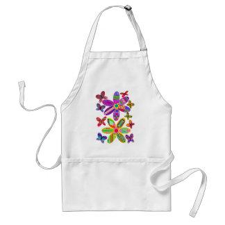 Blumen und Schmetterlings-bunte Schürze