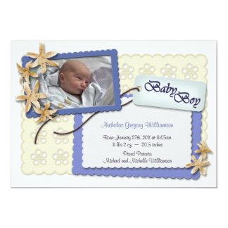 Blumen und Spitze-blaue Geburts-Mitteilungen 12,7 X 17,8 Cm Einladungskarte