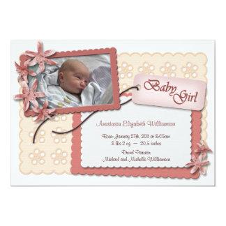 Blumen und Spitze-rosa Geburts-Mitteilungen 12,7 X 17,8 Cm Einladungskarte