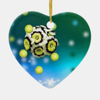 Blumen- und Tennisbälle, die auf Luft fliegen Keramik Herz-Ornament