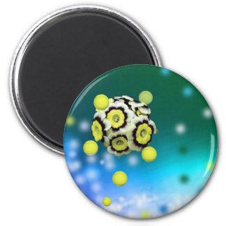 Blumen- und Tennisbälle, die auf Luft fliegen Runder Magnet 5,7 Cm