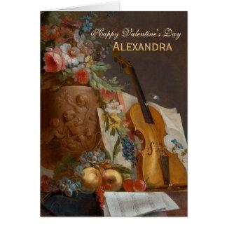 Blumen und Violine CC0642 Valentine-Gruß-Karte Karte