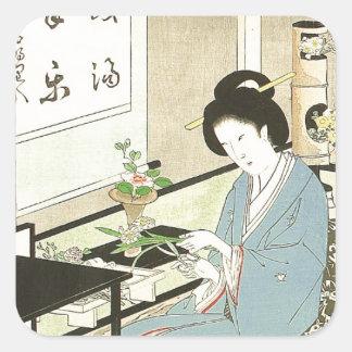 Blumen-Vereinbaren und Tee-Zeremonie durch Quadrat-Aufkleber