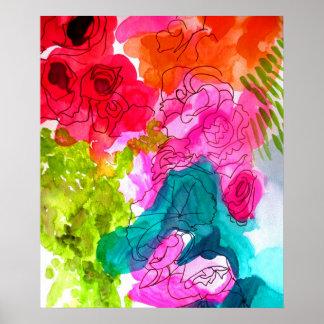Blumen-Wasserfarbekunst der Frühlings-Blumen Poster