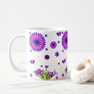 Blumen-Weiß-Tasse der Kaffeeteeliebhaber lila Kaffeetasse