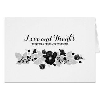 Blumen winden Schwarzes u. danken weiße Hochzeit Karte