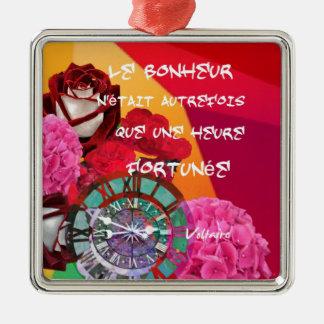 Blumen, Zeit und Glückmitteilung Silbernes Ornament