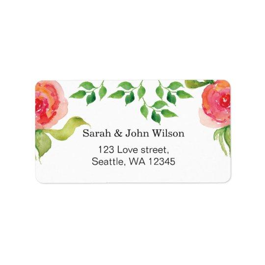 Blumenadressen-etikett des korallenroten rosa adressaufkleber