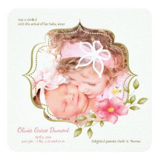 Blumenanmut-Foto-Geburts-Mitteilung Karte