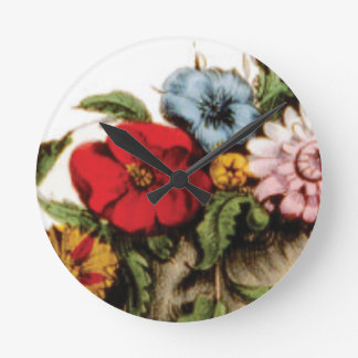 Blumenanordnungszeichnen Runde Wanduhr