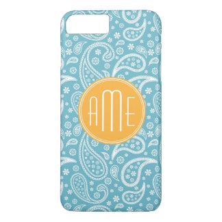 Blumenaqua-blaues Paisley-Muster u. gelbes iPhone 8 Plus/7 Plus Hülle