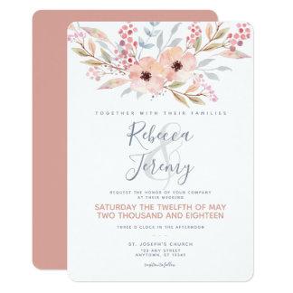 BlumenAquarell-erröten moderne Hochzeits-Einladung Karte