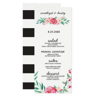 BlumenAquarell-Hochzeits-Menü-Karten 10,2 X 23,5 Cm Einladungskarte