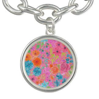BlumenAquarellmuster im Rosa Charm Armband