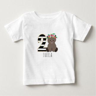 Blumenbaby-Bärn-Streifen-zweites Geburtstags-Shirt Baby T-shirt