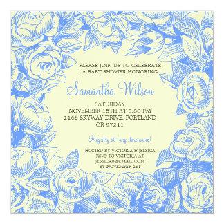 Blumenbaby-Duschen-Vintage Rosen blau Quadratische 13,3 Cm Einladungskarte