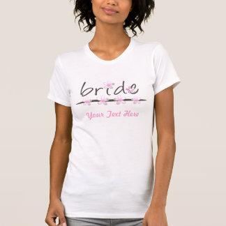 Blumenblatt-rosa Brautt-shirt