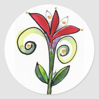 Blumenblatt-Schieber-Aufkleber Runder Aufkleber