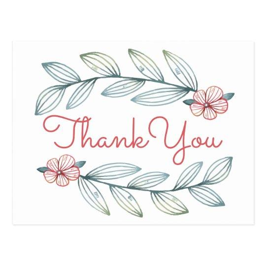 Blumenblau dankt Ihnen rotes Postkarten