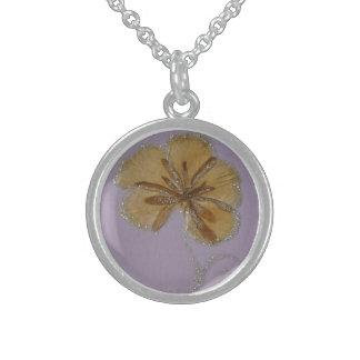 Blumenblumenblattmedaille Sterling Silberkette