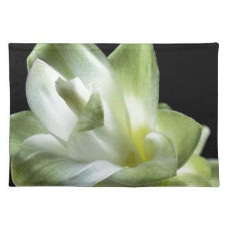 Blumenblüten bilden weißer Liebe-Kuss Tischset