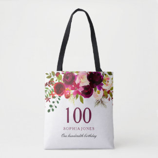 BlumenBoho 100. Geburtstags-Party Burgunders Tasche
