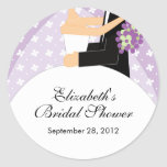 Blumenbraut-Bräutigam-Brautparty-Aufkleber lila