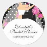Blumenbraut-Bräutigam-Brautparty-Aufkleber-Rosa