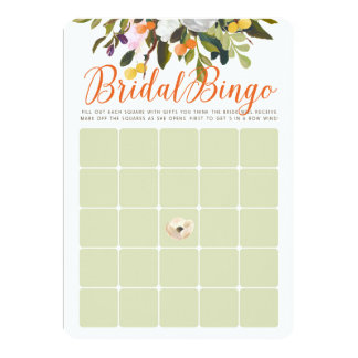 BlumenBrautparty-Bingo-Karten im orange Salbei Karte