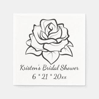 BlumenBrautparty-Rosen-Blumen-Schwarz-Hochzeit Serviette
