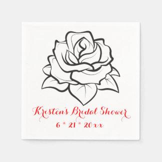 BlumenBrautparty-Rosen-Blumen-Schwarz-Hochzeit Servietten