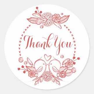 Blumenburgunder danken Ihnen roter Lovebirds-Kranz Runder Aufkleber