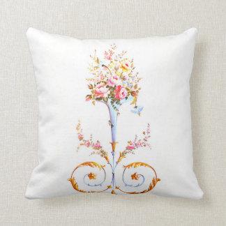 Blumenbürsten-Rokokos, die romantisches elegantes Kissen