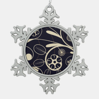 Blumendamast Tanschwarzes Schneeflocken Zinn-Ornament