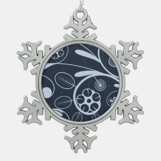 Blumendamastblau Schneeflocken Zinn-Ornament