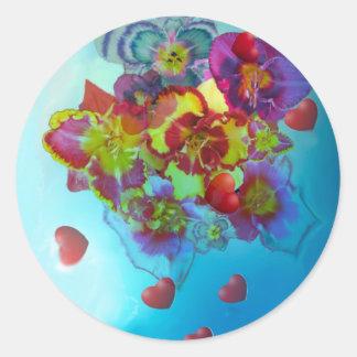 Blumendieses heraus gelassen ihren Herzen Runder Aufkleber
