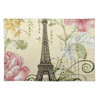 BlumenEiffelturm des schäbigen Eleganzgelb-Rosas Tischset