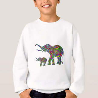 Blumenelefant-Illustrations-helle bunte Töne Sweatshirt