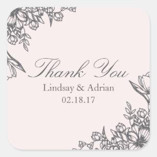 Blumeneleganz-Hochzeit danken Ihnen Aufkleber