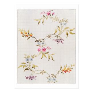 Blumenentwurf der Gartennelken und der Rosen für Postkarten