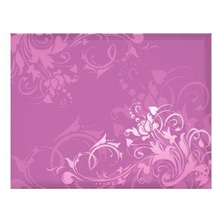 Blumenentwurf des hübschen rosa Strudels 21,6 X 27,9 Cm Flyer