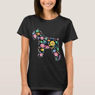 Blumenentwurf des niedlichen Schnauzer T-Shirt