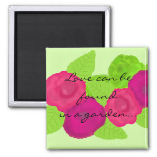 Blumenentwurf mit Liebe-Mitteilung Quadratischer Magnet