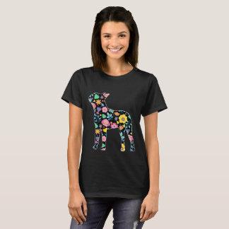 Blumenentwurf niedlichen Boston-Terriers T-Shirt